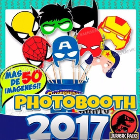 Photobooth 1200 Props, Cartelitos Kit Imprimible Heroes 2017