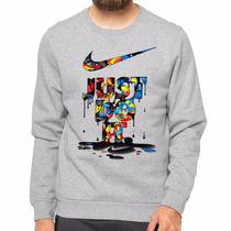 Moletom Gola Redonda Blusa Nike Just Do It Marca Famosa
