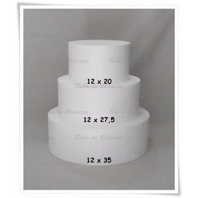Bolo Isopor - Bolo Falso - 3 Peças Bases 12 Cm - Bases Altas