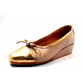 Sam123 Zapatos Taco Chino De Cuero Talles Grandes Hueso Oro