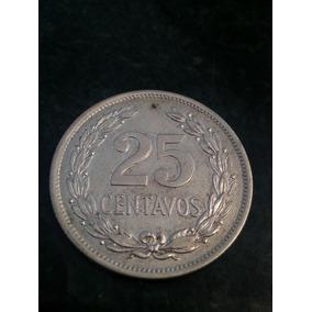 Moneda El Salvador 25 Centavos 1943 De Plata