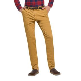 Pantalon Casual Hombre Slim Color Mostaza Algodon Cb803 A