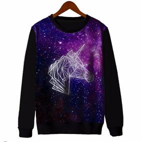 Blusa Moletom Canoa Feminina Tumblr Unicornio Galaxia Galaxy