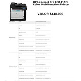Impresora Hp Multifuncion Color Laser Jet Pro Cm1415fn