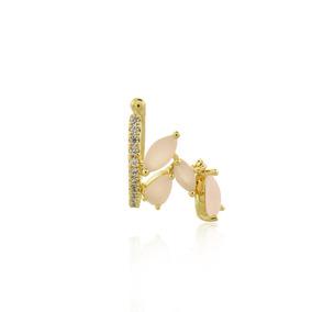 Piercing Dourado Gotas Quartzo Rosa