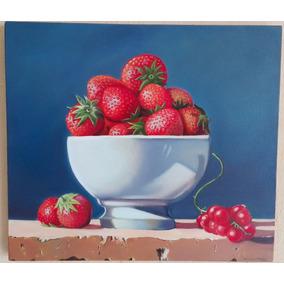Fresas Jarrón Frutas Cuadro Pintura Al Óleo 80x70 Decoración