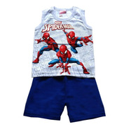 Conjunto Infantil Machão E Bermuda Spiderman - Brandili