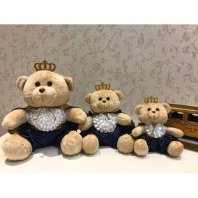 3 Ursos Príncipe Encantado Pelúcia Para Nicho P, M E G Bebê