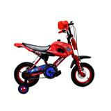 Bicicleta Lahsen Motobike Spiderman Aro 12 Niño Color Rojo