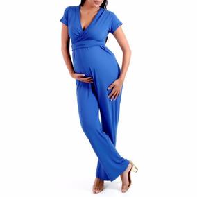 Macacão Para Grávida - Azul Royal Lindo # Zera Estoque #
