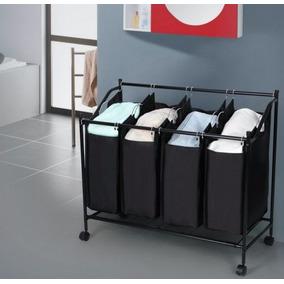 cesto para clasificar ropa sucia con rodillos color negro