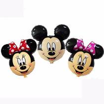 Balão Metalizado Mesa Mickey Ou Minnie 27 Cm + Vareta