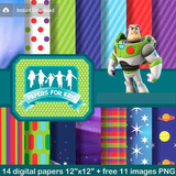 Kit Imprimible Pack Fondos Toy Story Buzz Lightyear Clipart