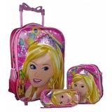 Kit Mochila Escolar Rodinha Barbie 3d + Bolsa + Estojo