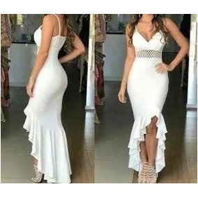 5ff1d31fd Vestido Sereia Com Fenda - Vestidos Longos Femininas Nude no Mercado ...