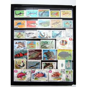 Lote De 31 Selos Temáticos De Peixes Vários Países Do Mundo