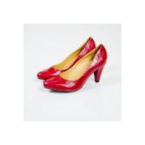 Zapato Bottier Mujer Cuero Rojo, Modelo Ejecutivo