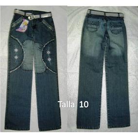 Jeans Para Niñas Talla 10 Incluye Cinturón De Silicon