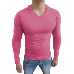 Camisa Camiseta Blusa Masculina Gola V Capuz Lisa