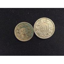 Moneda Suiza 1885 Y 1883; 10 Y 20 Rappen Lt37