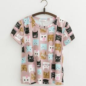 Tshirt Feminina Estampada Gatinhos Tumblr Moda Jovem