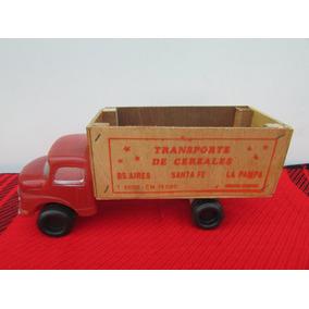 Camión Antiguo Plástico Inflado Y Caja De Madera (9-b08)