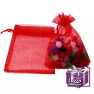 100 Sacos De Organza Vermelho Saquinho Organza 15x18cm