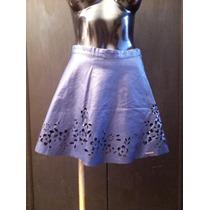 Minifalda Marca Abercrombie Azul Marino Tipo Piel