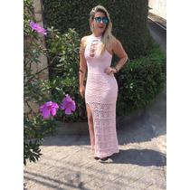 Vestido Longo Com Fenda Trabalhado Chique Verão Festa Madrin