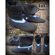 Botas Tejidas En Crochet De Media Caña. Suela De Pv. T 35/39