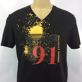 Camiseta Armani Exchange Gola V Algodão Pima