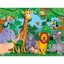 Painel Decorativo Festa Safari Zoo Animais [3x1,7m] (mod3)