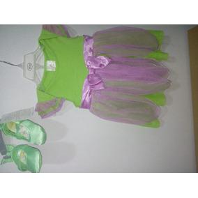 Disfraz Bebe Campanita Vestido Disney 12-18 Mes Con Zapatos