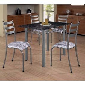 Conjunto Mesa Jantar Cozinha 4 Cadeiras Gênova Tampo Pedra