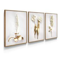 Quadro Decorativo Floral Branco Dourado Ouro Gold Para Sala