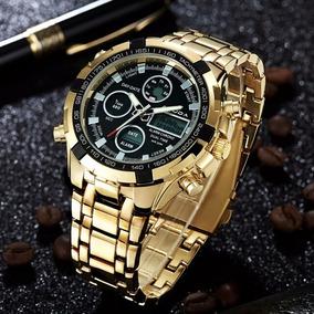 Relógio Banhado A Ouro Amuda Cronômetro Alarme Multifunção