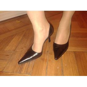Zapatos Stilettos Negros Cuero Paruolo Talle 37 Oportunidad!