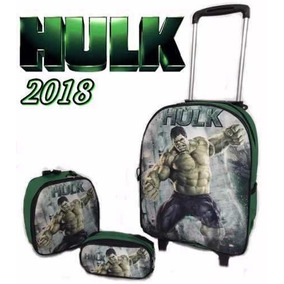 Kit Mochila Infantil Rodinha Incrivel Hulk Nv 2018