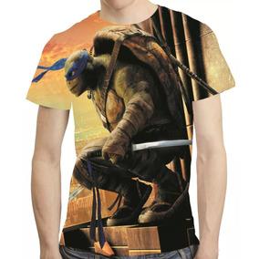 Camisa Filme Tartaruga Ninja Camiseta Leonardo Estampa Total