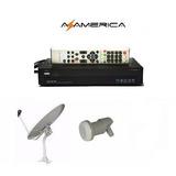 Kit Tv Libre Fta Azamerica S810b Mpeg2 + Antena + Lnb