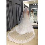 Véu Longo De Noiva Grinalda Rendada 3m Pente Luxo Mantilha