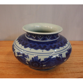 Florero Bajo De Porcelana Flores Azules