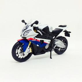 Miniatura De Moto Bmw S1000rr Branca E Azul 1:12 Maisto
