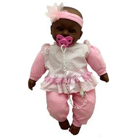 Boneca Bebê Real Recém Nascida Negra Estilo Reborn Divertoys