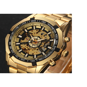 Relogio Automatico Masculino Dourado Luxo Pulseira De Aço