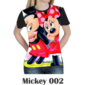 Camiseta Blusa Mickey Minie Disney Femenina Baby Look 002