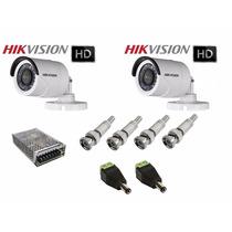 Kit 2 Câmeras Hikvision Turbo Hd 720p 2.8mm +fonte +conector