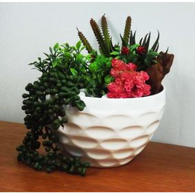 Arranjo De Suculentas Artificiais Grande Vaso Decorado Flor