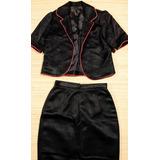 Falda Y Chaqueta Tipo Blazer Negra, Conjunto De Dama Usado