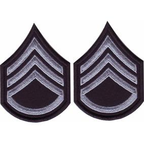 Insignia Militares Plata/negro V-lcro Par Parches Bordados